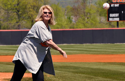 Union President Dr. Marcia Hawkins threw out the first pitch prior to today's games.