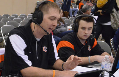 Matt Mahony (left) and Jon North calling a game during the AAC Basketball Tournament